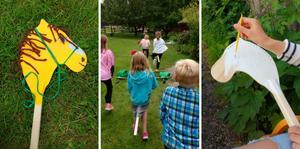 Först får barnen göra sin egen käpphäst, sen blir det hopptävling. Foto: Marte Rodal