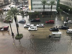 Så såg det ut i stora delar av New Orleans under onsdagen. Värre kan det bli under helgen. Foto: Cecilia Andersson