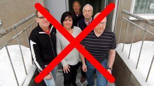 Ledartrion Krister Nilsson, Anneli Karlsson, Rolf Rickmo backades upp av de gamla AIL-arna Roland Åslund och Evert Olsson inför valet 2014.Bilden är ett montage.