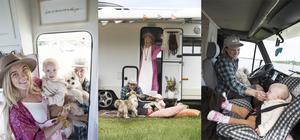 Lisa, Andreas, Ruth och hunden Åke, alla är laddade för en långresa i Europa.