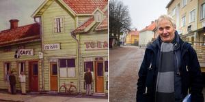 På sin barndoms gata. Hans Johansson, Mockfjärd,  tillbaka i Säter för en minnenas promenad. Bild/Bengt Eriksson (från boken)/Jenny Andréasson/montage