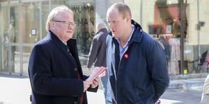 Här syns försvarsminister Peter Hultqvist under ett besök i Östersund.