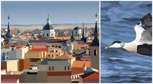 """""""Madrid"""" och """"Flygande ejder"""" av Erik Stenborg."""