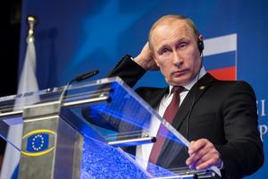 Bilden på den ryske presidenten Vladimir Putin är ifrån ett möte mellan EU och Ryssland som hölls i Bryssel 2014.