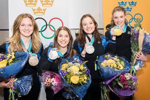 Mona Brorson, Anna Magnusson, Linn Persson och Hanna Öberg. Foto: Adam Wrafter (Bildbyrån)