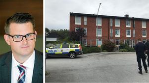 Anders Åhrlin, Moderat kommunalråd skriver om behovet av att få bort Vivalla, Varberga och Oxhagen från listan över Sveriges mest utsatta områden. Bilden är ifrån en polisinsats vid en knivskärning i Varberga i augusti 2018