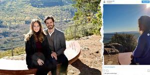 Prinsessan Sofia och Prins Carl-Philip åkte nyligen till Hykjeberget där bänken, som paret fick i bröllopspresent, står. Bilden är ett montage.