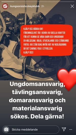 Inlägget på klubbens instagramkonto.