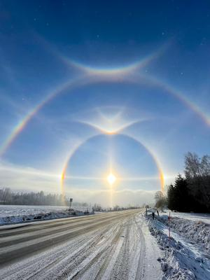 Enligt SMHI är det inte ovanligt, men visst är det spektakulärt ändå? Här är ett foto som Sofia Linder tog i närheten av Slutarp. Foto: Sofia Linder