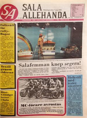 7 maj 1990, Carina Swärds första dag på Sala Allehanda. Layouten ritades med blyertspenna och linjal, och färgbilder var inte så vanligt förekommande.
