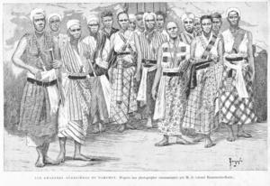 Kvinnliga krigare i Dahomey efter ett foto av M. Dinnematin-Dorat 1890.