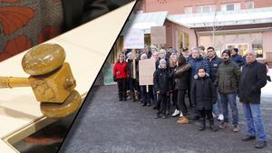 Ett 25-tal personer demonstrerade utanför kommunhuset då frågan om riksväg 84 skulle avgöras.