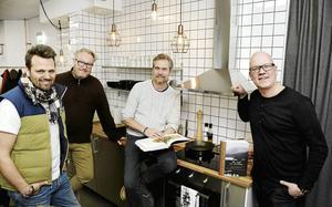 Delar av gänget bakom produkterna i form av Peder Sundström, Steven Ekholm, Anders Lönn och Håkan Nordström. Bild: Privat