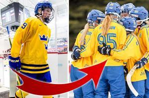 Olivia Carlsson (vänster) har ett JVM-guld i bandy. Till höger ser ni det svenska guldlaget från Minneapolis. Foto: Jon Olav Nesvold / BILDBYRÅN.