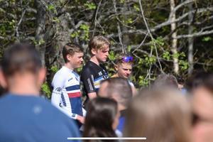 Jonathan Ahlsson på pallen i Kinnekulleloppet förra helgen. Andraplatsen där öppnade för landslagsdebuten den här veckan. Foto: Privat