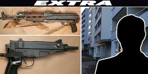 Den misstänkte 22-åringen hävdar att han inte visste att det var riktiga vapen som han hade i sovrummet. Foto: Polisen/ Torbjörn Granström