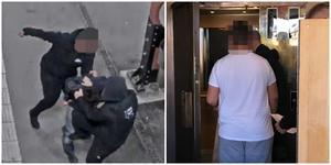 Till höger den åtalde 18-åringen, som är den som enligt polisvittnena svingar slag mot brottsoffret till vänster. Bilden till vänster är en övervakningsbild. Foto högra bilden: Torbjörn Granström
