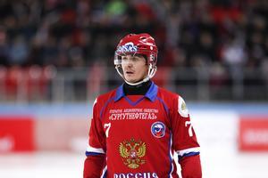 Sergej Lomanov i VM-finalen 2018. Ryssland vann med 5–4 mot Sverige i Chabarovsk i vad som, av allt att döma, var Sergej Lomanovs sista VM. Han är den ende i bandysporten som har vunnit tio VM-guld. Foto: Rikard Bäckman / Bandypuls.se / TT