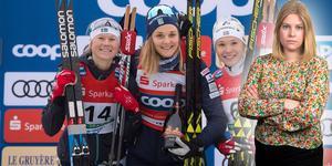 Maja Dahlqvist, Stina Nilsson och Jonna Sundling utgjorde gårdagens pall. Idag stod de samtliga som etta och tvåa, tillsammans med Ida Ingemarsdotter, på pallen igen. Bilden är ett montage.