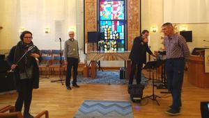 Från vänster: Jennie Johansson Sveriges Radio, Göran Norlén, Ronnie Sahlén och Kjell Larsson. Foto: Christina Häggkvist