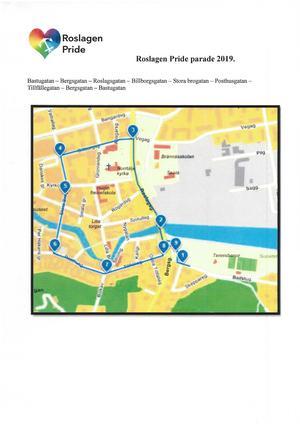Karta över rutten för lördagens Prideparad. Bild: RFSL Roslagen