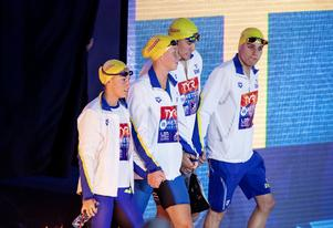 Johannes Skagius, tredje från vänster, imponerade trots att Sverige blev sist i finalen. Foto: Christine Olsson / TT /