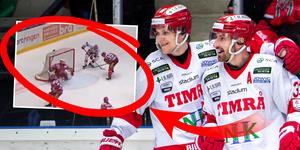 Albin Lundin kramas om efter 2–3. Montage: Lukas Sahlin. Bilder: Erik Mårtensson (Bildbyrån) / Skärmdump (C More).