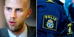 Riksdagsledamot Carl-Oskar Bohlin, M, om ökade resurser till rättsväsendet. Foto: Mikael Hellsten/DT/Hanna Franzén/TT montage