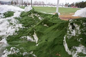 Granulatet som följt med snön kommer återföras till konstgräsplanen.
