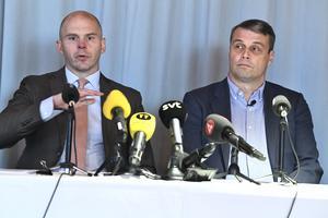 Daniel Kindberg håller en pressträff med sin försvarsadvokat Olle Kullinger där de kommenterar domen om grov ekonomisk brottslighet.Foto: Claudio Bresciani / TT