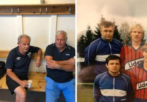 Till vänster Kenneth Boman och Ove Backlund inför matchen mot Sala i helgen. Till höger samma duo på en 33 år gammal lagbild.