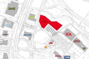 Peritas Fastigheter och Rico Estate Development har köpt det stora markområdet och planerar att bygga flera stora butiker där. Bild: Rico Estate Development