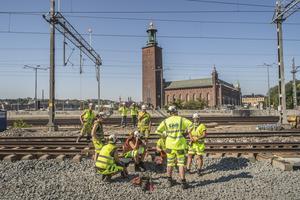 Järnvägsbygge, upprustning av den så kallade getingmidjan. Det vill säga spåren mellan Stockhom C och Stockhom Södra. Foto: Bezav Mahmod / SvD / TT.