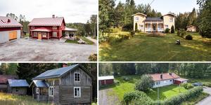 Ett montage med några av de hus som finns med på Klicktoppen för vecka 38, sett till de hus i Dalarna som lockat störst intresse. Bilden är ett montage.