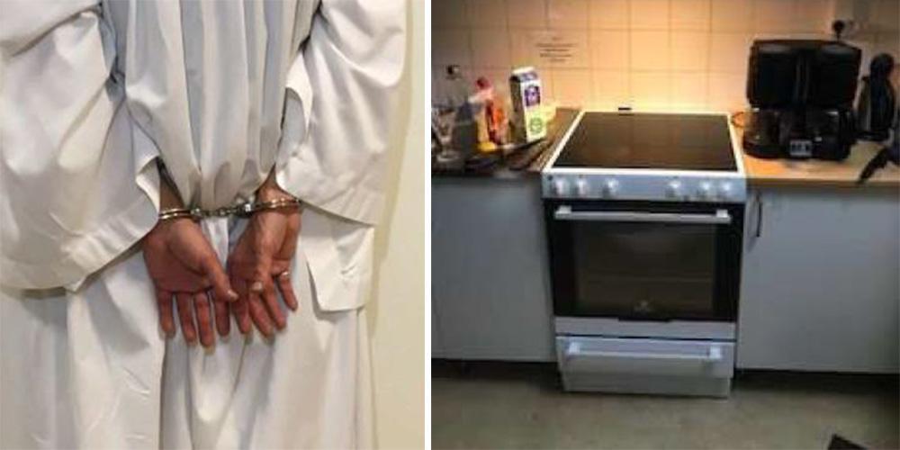 37-åringen tog på sig prästkläder och lagade mat inne i kyrkan. Bilderna är hämtade från polisens förundersökning.