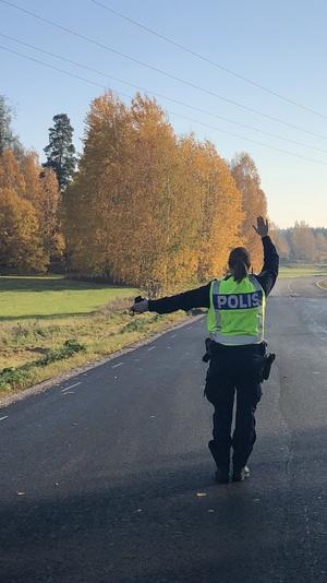Underbar höstmorgon i Gunnilbokorset. Vi utförde medborgarlöfte i Skinnskatteberg.                                          Foto: Anna Larsson
