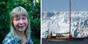 Milo Dahlmann i sin trädgård på Yxlan. Till höger en bild på segelbåten när Milo var i Patagonien. Foto: Milo Dahlmann