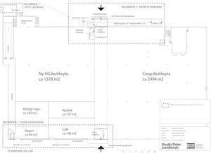 Coop kommer ha en yta på 2494 kvadratmeter, Apoteket 197 kvadratmeter och Centrumkonditorn totalt cirka 292 kvadratmeter. Centrumkonditorn kommer dessutom, i den nya fastigheten, ha bageri och kafé på samma ställe.