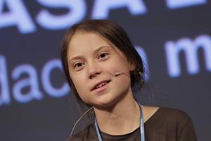 Greta Thunberg under fredagens presskonferens för klimatet i Madrid.
