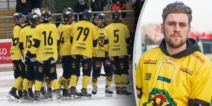 ÖSK jublar åt Robin Folkessons (skymd på stora bilden, infälld till höger) 3–3-mål, ett av sju mål på 28 minuter som tog ÖSK från 3–0-underläge till 7–3-ledning – och sedermera 8–4-seger – mot Unik.