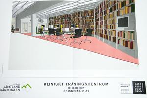Ett nytt integrerat medicinskt bibliotek i anslutning till KTC.  Källa: Region Jämtland Härjedalen.