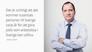 Ställer Socialdemokraterna upp på det budskap som finns i Stefan Löfvens inlägg på Facebook? Det undrar insändarskribenten som menar att texten för tanken till främlingsfientlighet. Bild: Stefan Löfvens Facebooksida