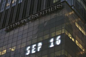 Lehman Brothers högkvarter i New York, USA, tisdag 16 september 2008. Foto: AP Photo/Mary Altaffer.