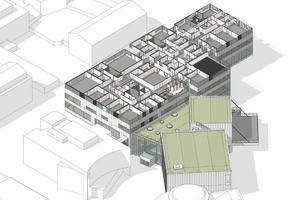 Våning 4 med fyra större salar med multifunktion, varav två är danssalar med trägolv. Illustration: Wingårdh arkitektbyrå.