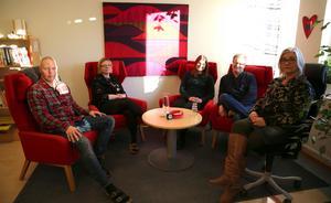 Familjerådgivare Peter Östergren, Victoria Sparr, Johanna Östergren, Janne Gustafsson och avdelningschef Pia Blomstedt, Familjerådgivningen, Mora.