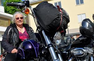 Karin Sahlin från Valkyria MC deltog i Orange day och hoppades göra skillnad.