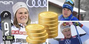 Anna Swenn-Larsson och kollegorna i alpina landslaget har chans att kamma hem storkovan i världscupen. Sebastian Samuelsson och Jens Burman har tuffare att få in de riktigt stora slantarna på kontot. Foto: TT (Montage)