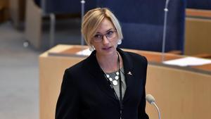 Åsa Eriksson debatterar i riksdagen under sitt första vikariat, hösten 2016. Hon har senaste månaderna varit inne på sitt andra vikariat – men får nu en ordinarie plats. Foto: Anders Wiklund / TT