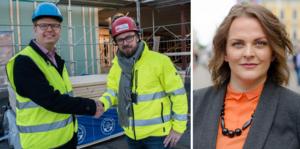 Fredrik Rönning och Kim Söderström tog under torsdagen i hand vid bygget av Strandängens förskola i Smedjebacken. Kravet på att svenska kollektivavtal ska gälla på alla byggen som bekostas med skattemedel gillas dock inte av Företagarnas regionchef Eva Cooper.