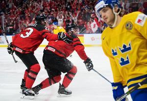 Sam Steel och Dillon Dubé låg bakom den kanadensiska finalsegern. Bild: Joel Marklund/Bildbyrån